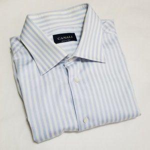 Canali Pale Blue Striped Long Sleeve Dress Shirt